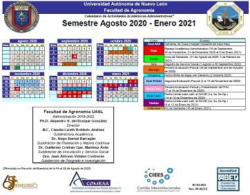 Calendario Agosto 2020 - Enero 2021