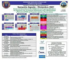 Calendario Agosto - Diciembre  2021